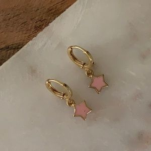 BOGO! Pink Star Charm Huggie Earrings